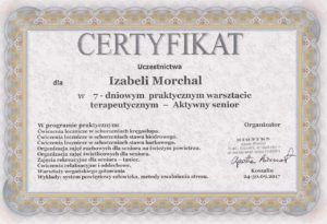 certyfikat aktywny senior Izabela Morchal.