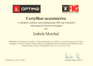 certyfikat uczestnictwa w szkoleniu z zakresu oceny funkcjonalnej FMS